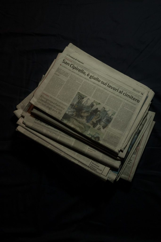 Copies of the Giornale di Sicilia featuring Salvia's reporting on malpractice in the management of the local cemetery.