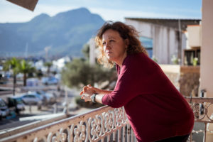 Anne-Laure Cristofari (41), poses for a portrait in the port of Calvi, her hometown.Anne-Laure is the spokesperson for 'Donne di Manca' ('Left-wing women' in Corsican), a feminist pro-independence movement part of 'A Manca', a socialist political movement advocating for the self-determination of Corsica.